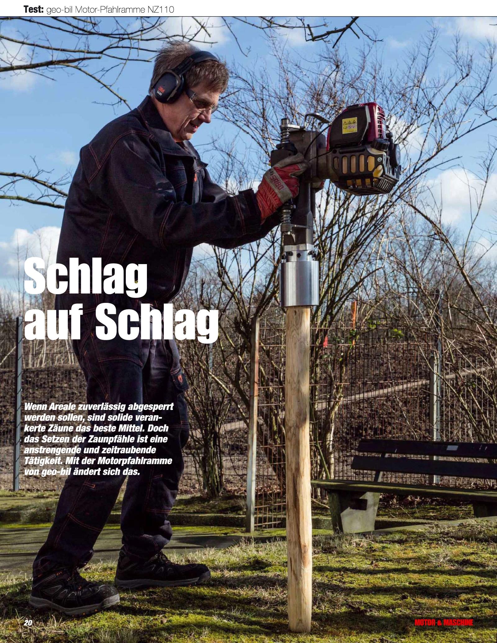 Testbericht Motor-Pfahlramme im Magazin Motor und Maschine